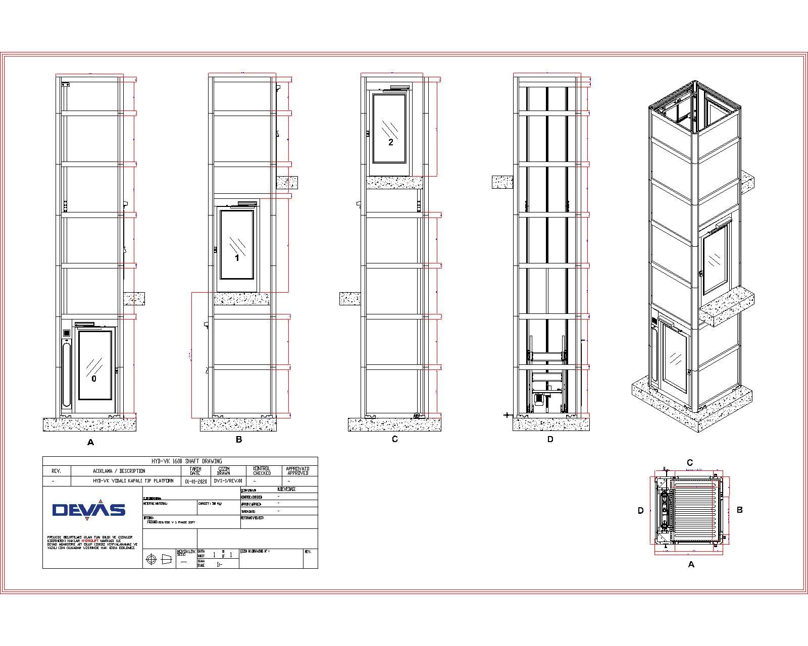 engelli asansörü ölçü